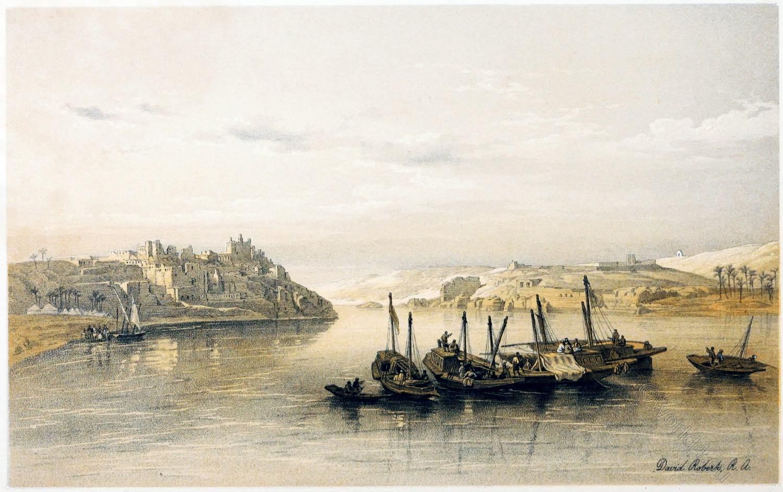 Asouan, Aswan, Syene, Egypt, Landscape, Island, Elephantine, David Roberts,