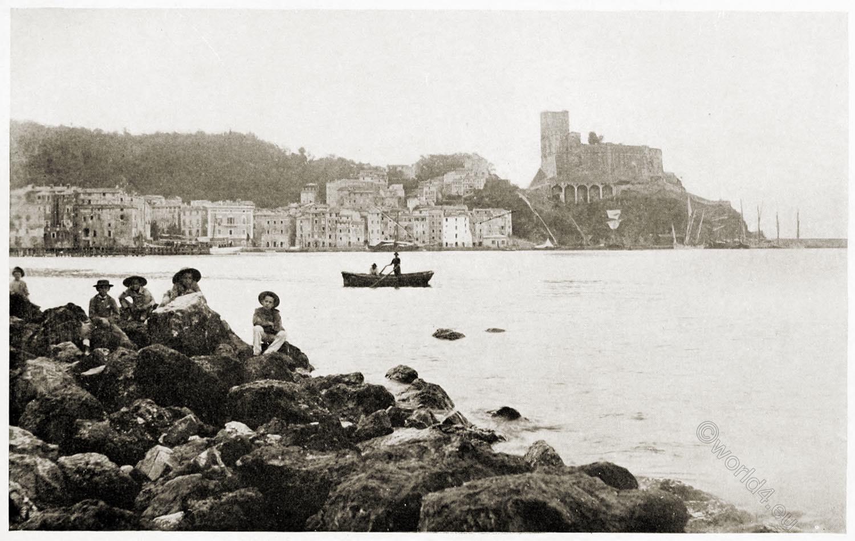 Bay, Lerici, Shelley, town, castle, Italy,