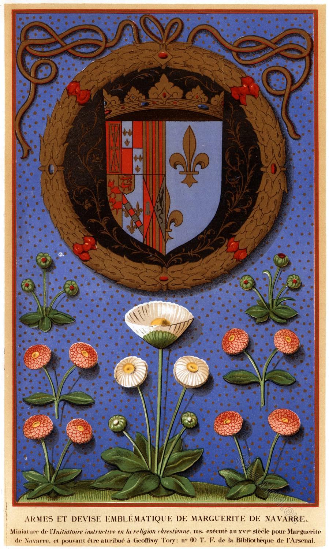 Margaret, Navarre, Queen, Coat of arms, France, Renaissance,
