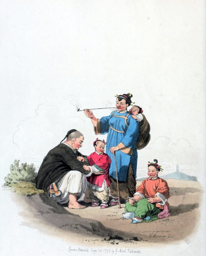 China, costumes, William Alexander , traditional, Chinese, peasants, children, northern, provinces,