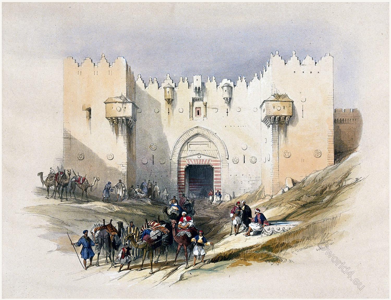 Damascus Gate, Jerusalem, Bethany, Holy Land, David Roberts, Travel, Israel,