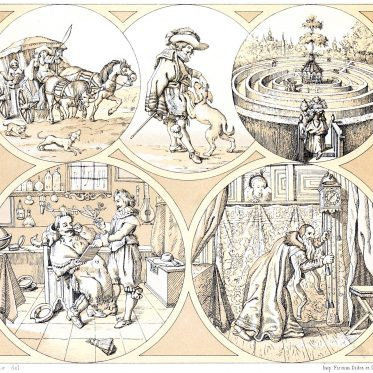 hedge, labyrinths, Auguste Racinet, costumes, history, Netherlands, 17th century,