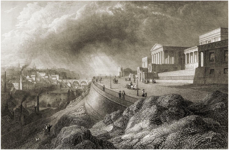 Edinburgh, View, Calton Hill, New, Parliament, House, Royal High School, Robert Batty,
