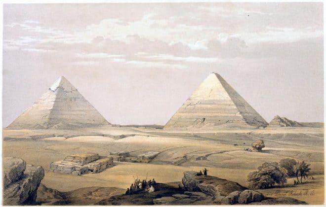 Pyramids, GEEZEH, David Roberts, Giza, Egypt,