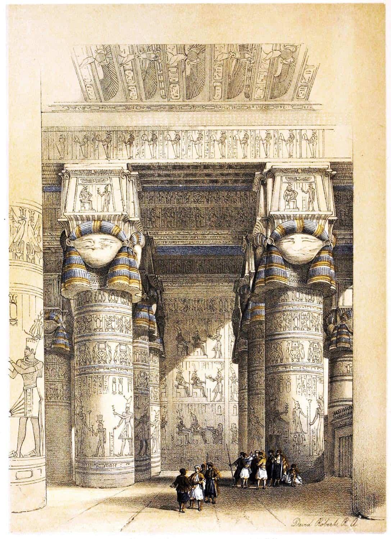 Portico, Temple, Dendera, Hathor, David Roberts, Egypt,