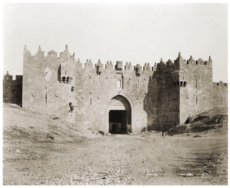Jerusalem, Damascus, Gate, Historical photograph, albumen, photoprints, Holy Land, view