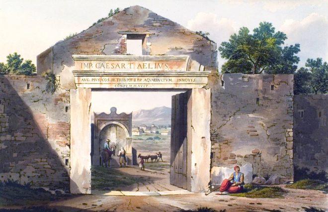 Entrance, Athen, Gate, walls, Ancient, Architecture, Edward Dodwell,