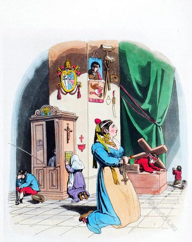 Costume, Florence, Richard Bridgens, Italy, female, devotions, church, scenes, Confessional,