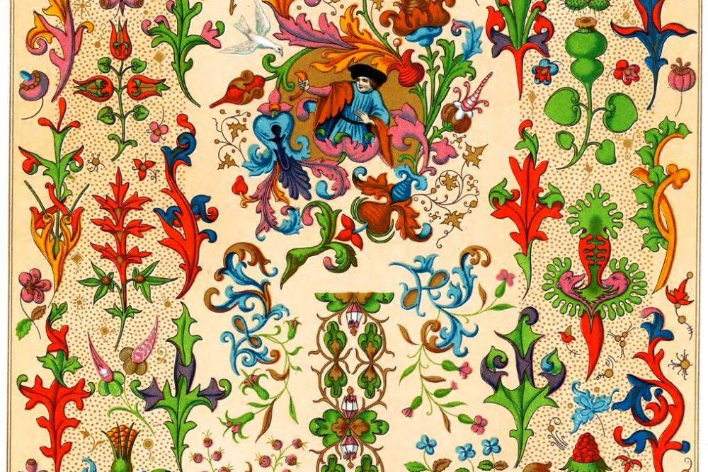 Auguste Racinet, Medieval, fabric, design, Ornament, flora, flower work, gothic,