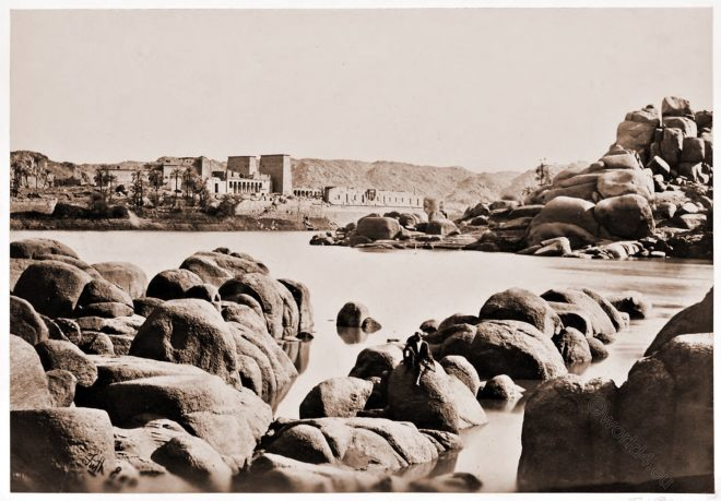 Philae, Egypt, Tempel, Aswan, landscape, Architecture, Francis Frith, Historical photograph, view