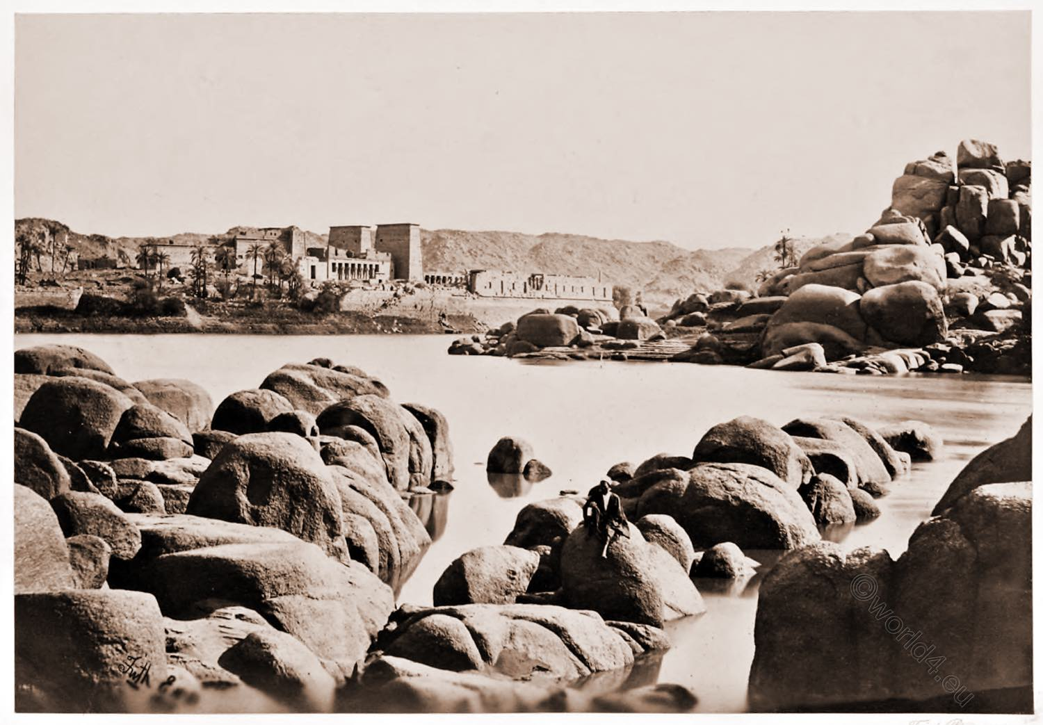 Philae, Approach, Egypt, Tempel, Aswan, landscape, Architecture, Francis Frith, Historical photograph, view