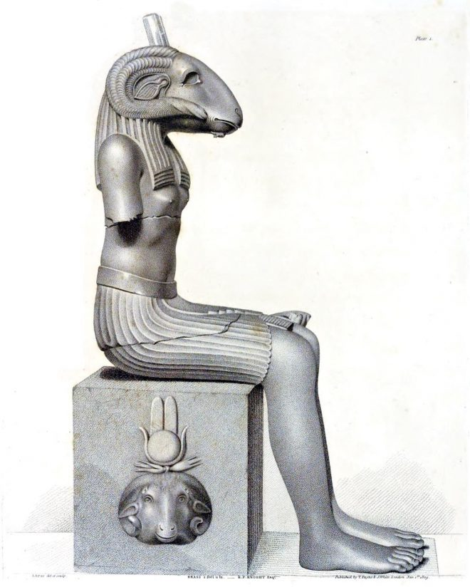 Egypt, god, Ammon, Ancient, Ram, human head, monument, Richard Payne Knight