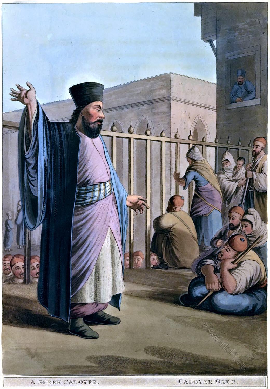 Monk, Hermit, Greek, Caloyer, Bethlehem, Luigi Mayer, Palestine, Holy Land, landscape, Architecture, view