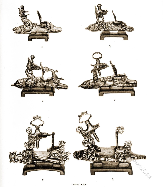 Specimens, gun-locks, wheel-locks, 17th century, firearms, baroque, Herbert J. Jackson Collection