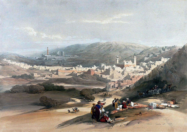 Hebron, David Roberts, Palestine, Holy City, Mosque, Patriarchs, tombs, Judaism,