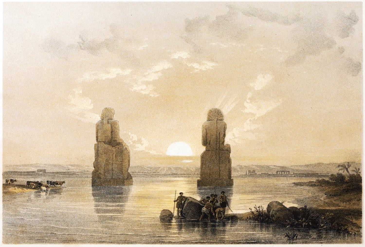 David Roberts, Memnon, Colossi, Egypt, Pharaoh, Travel, Nile, Valley, Thebes-West,