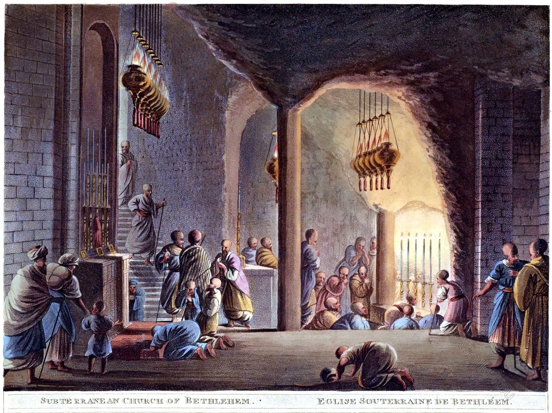 Church, Nativity, Subterranean, Bethlehem, Luigi Mayer, Palestine, Holy Land,
