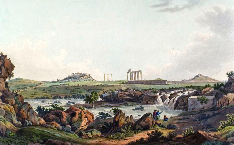 Ancient, Temple, Jupiter, Olympios, Ilissos, Athen, Architecture, Edward Dodwell