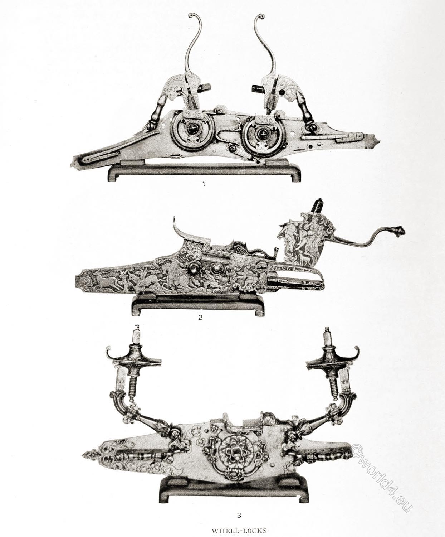 Specimens, wheel-locks, 17th century, firearms, baroque,