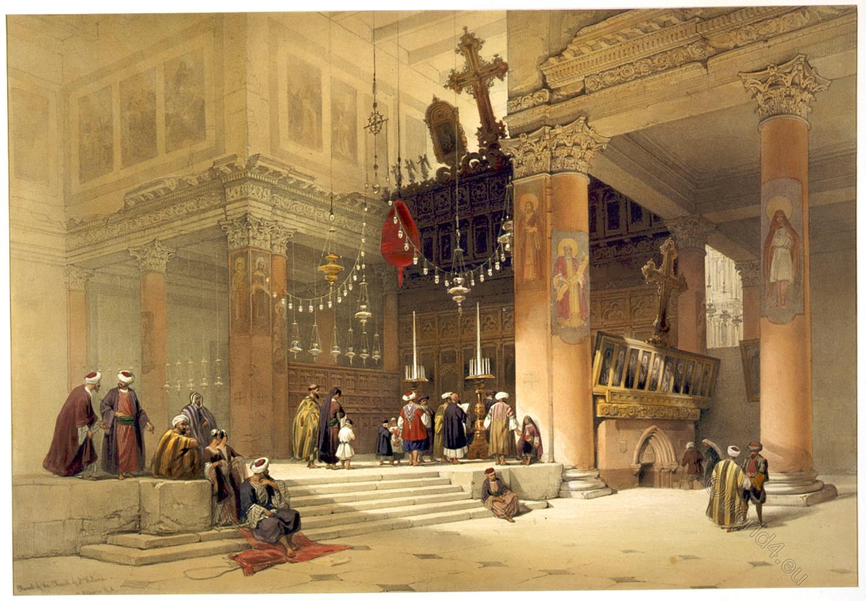 Chapel, Saint, Helena, Jerusalem, Holy Land, David Roberts, Basilica,