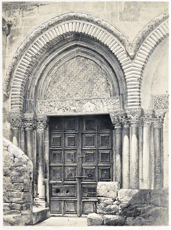 Gate, Entrance-Door, Church, Resurrection, Jerusalem, Holy Land, Ermete Pierotti,
