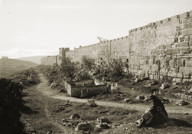 Jerusalem, Herodian wall, Golden Gate, Holy Land, David Roberts
