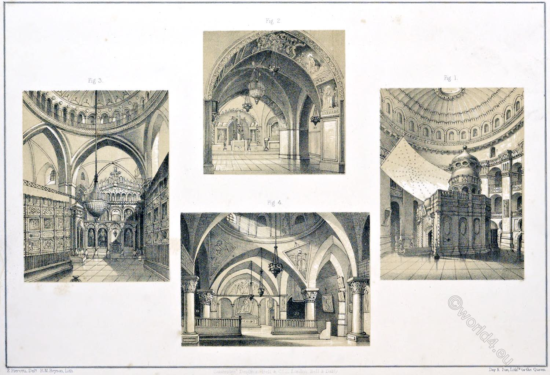 Interior, views, Holy, Sepulchre, Calvary, S. Helena, Church, Resurrection, Jerusalem, Holy Land, Ermete Pierotti,