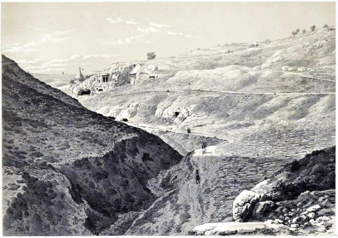 Jerusalem, Valley, Jehoshaphat, Holy Land, Ermete, Pierotti,