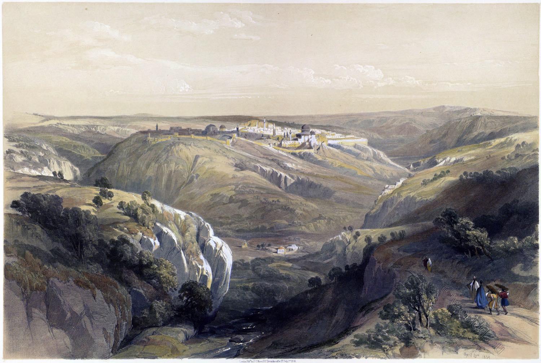 Jerusalem, south, view, cityscape, Roberts, David, Palestine, Israel, Holy Land,