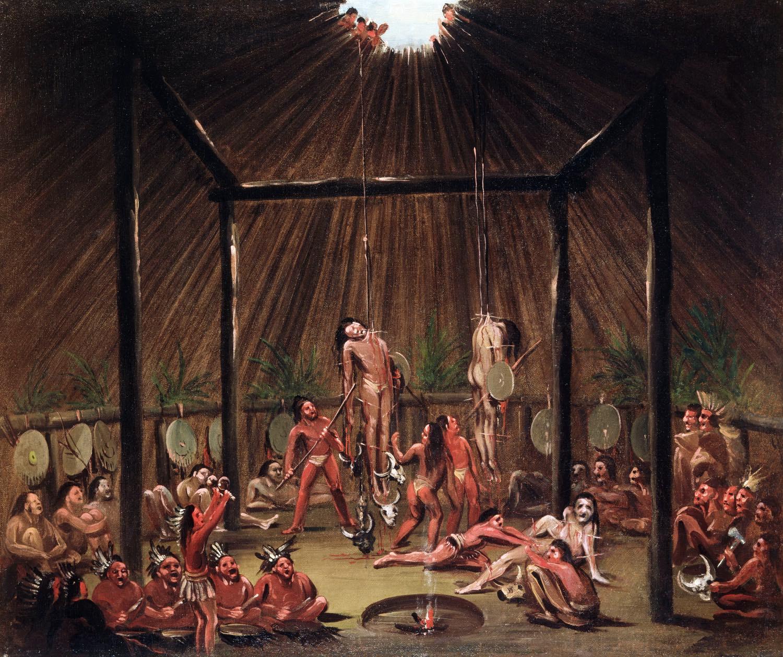 Mandan, O-kee-pa, Ceremony, George, Catlin, native, indians,