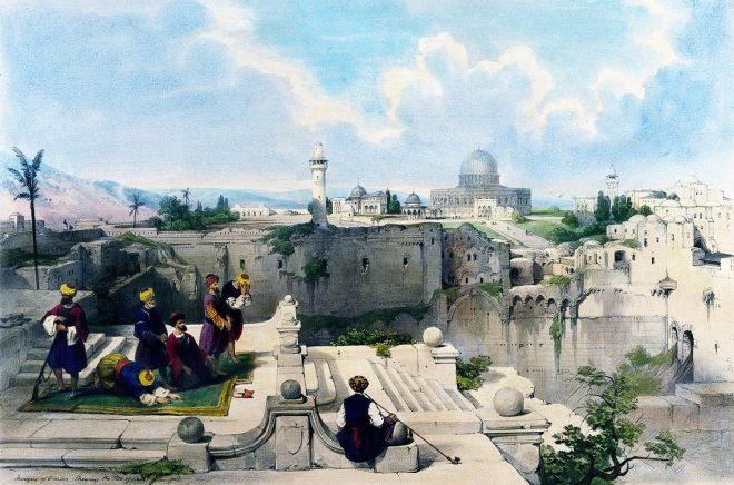Mosque, Omar, Roberts, David, Palestine, Israel, Holy Land, Landscape,