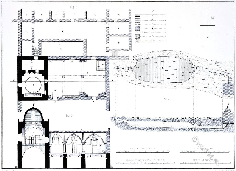 Architecture, Mount Sion, Plans, Interior, Cenacle, Coenaculum, tomb, David, Jerusalem, Holy Land, Ermete Pierotti,