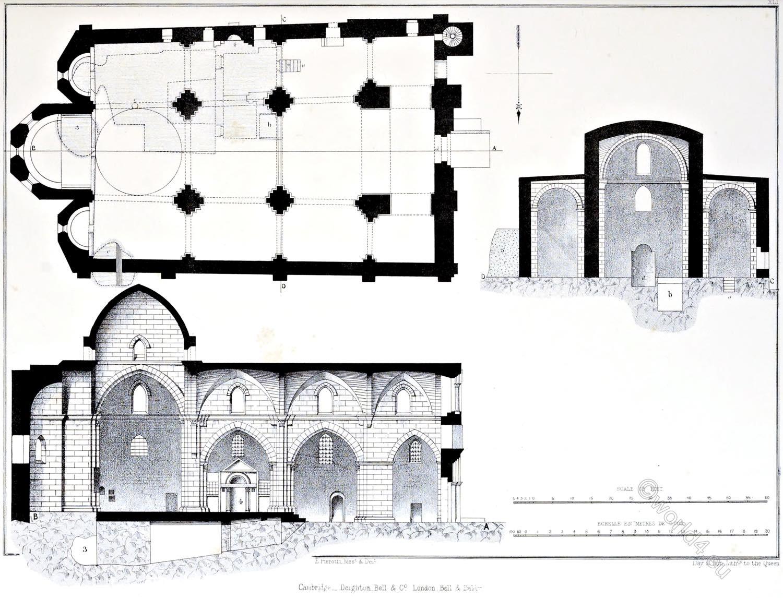 Architecture, Plans, Church, S. Anne, Jerusalem, Holy Land, Ermete Pierotti,