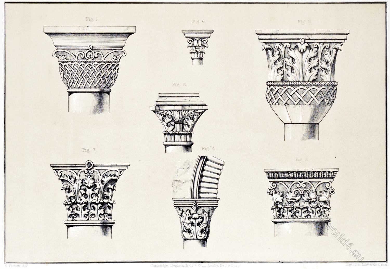 Capitals, Holy, Sepulchre, S. Helena, Greek chapel, Church, Resurrection, Jerusalem, Holy Land, Ermete Pierotti,