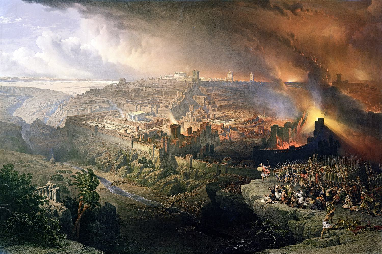 Jerusalem, siege, destruction, Romans Roberts, David, Palestine, Israel, Holy Land,