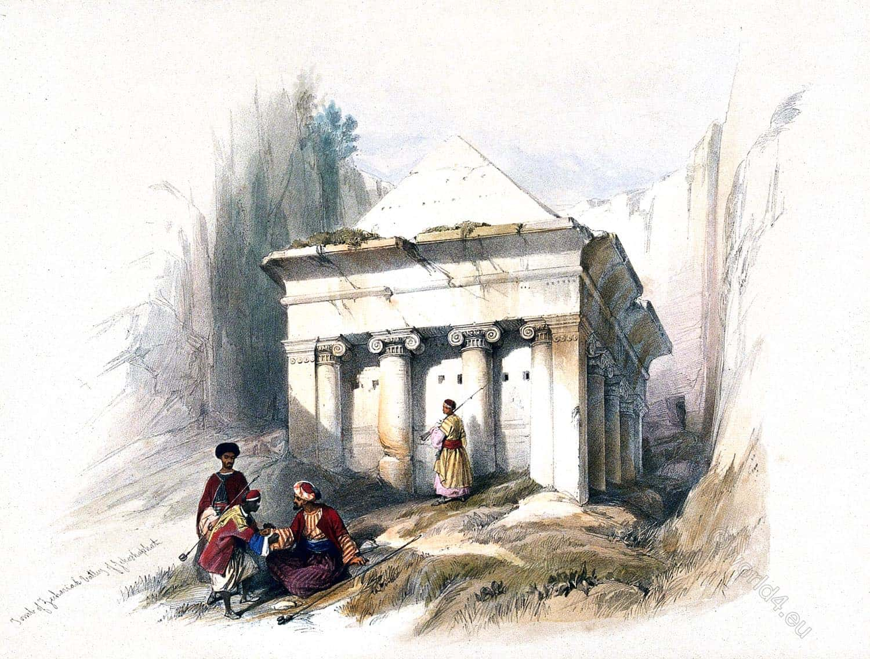 Zechariah, tomb, Jehoshaphat, Israel, Holy Land, David Roberts,