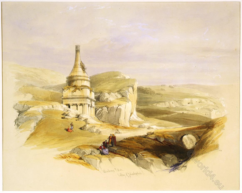 Absalom, Tomb, Absalom's, Pillar, Valley, Jehoshaphat, Holy, Land, Levante, Jerusalem,