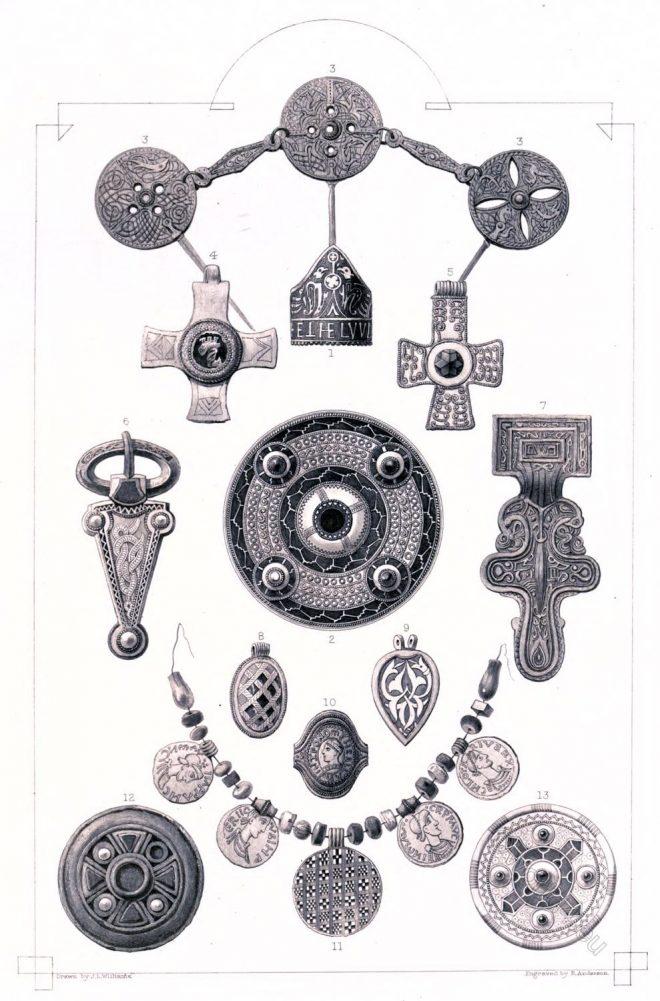 Thomas Archer, Anglo-Saxon, relics, Fibula, Necklace, ornaments, Brooch