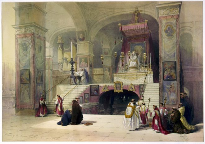 Church, Annunciation, Nazareth, Holy, Land, Levante, Israel, Palestine, David Roberts