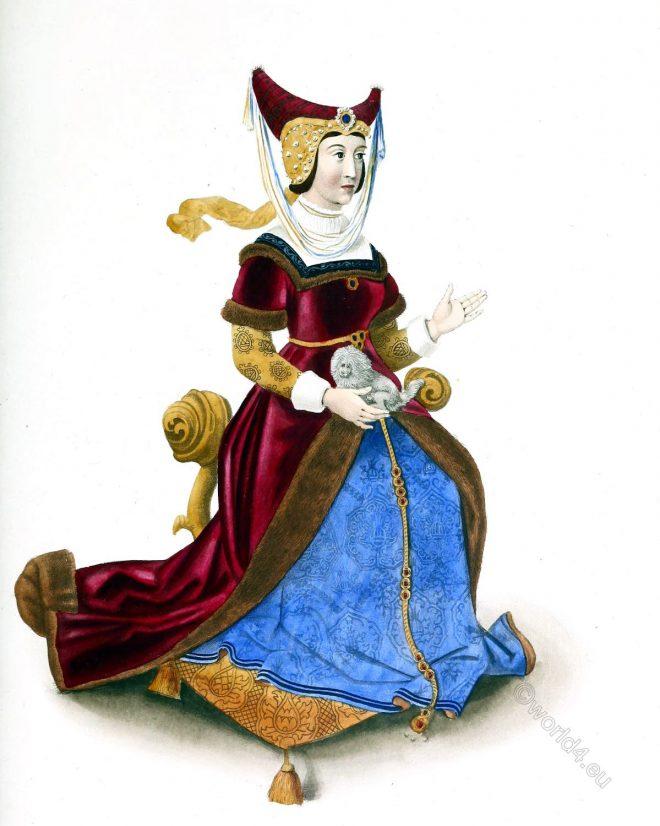 Constanze, Castilla, Duchess, Lancaster, horned head-dress, middle ages, fashion, portrait,