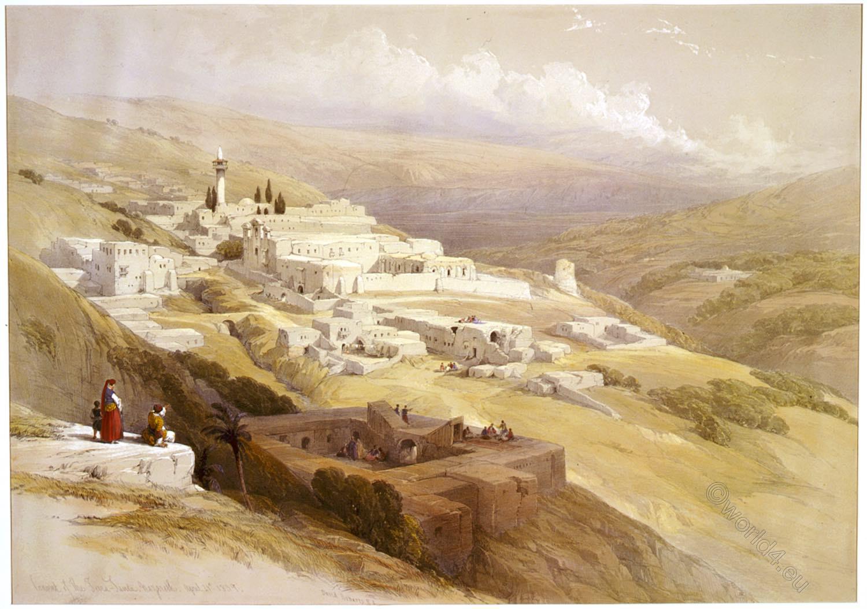 Franciscan, Convent, Terra Santa, Nazareth, Holy, Land, Levante, Israel, Palestine, David Roberts