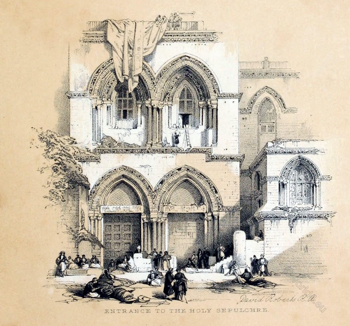David Roberts, Entrance, Holy Sepulchre, holy, land, levante, palestine,