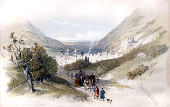 David Roberts, Nablus, Entrance, Shechem, holy, land, levante, palestine,