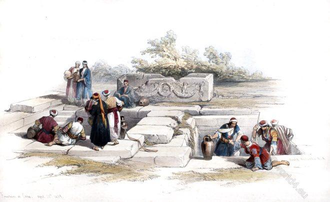 Fountain, Cana, Galilee, Holy, Land, Levante, Israel, Palestine, David Roberts