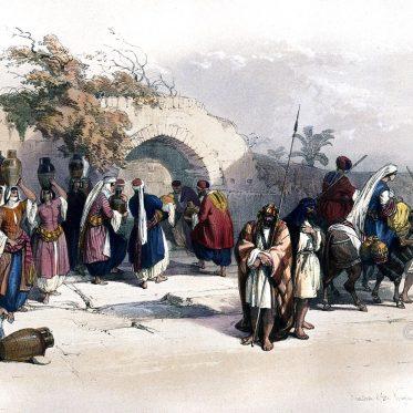 Fountain, Mary, Virgin, Nazareth, Holy, Land, Levante, Israel, Palestine, David Roberts,