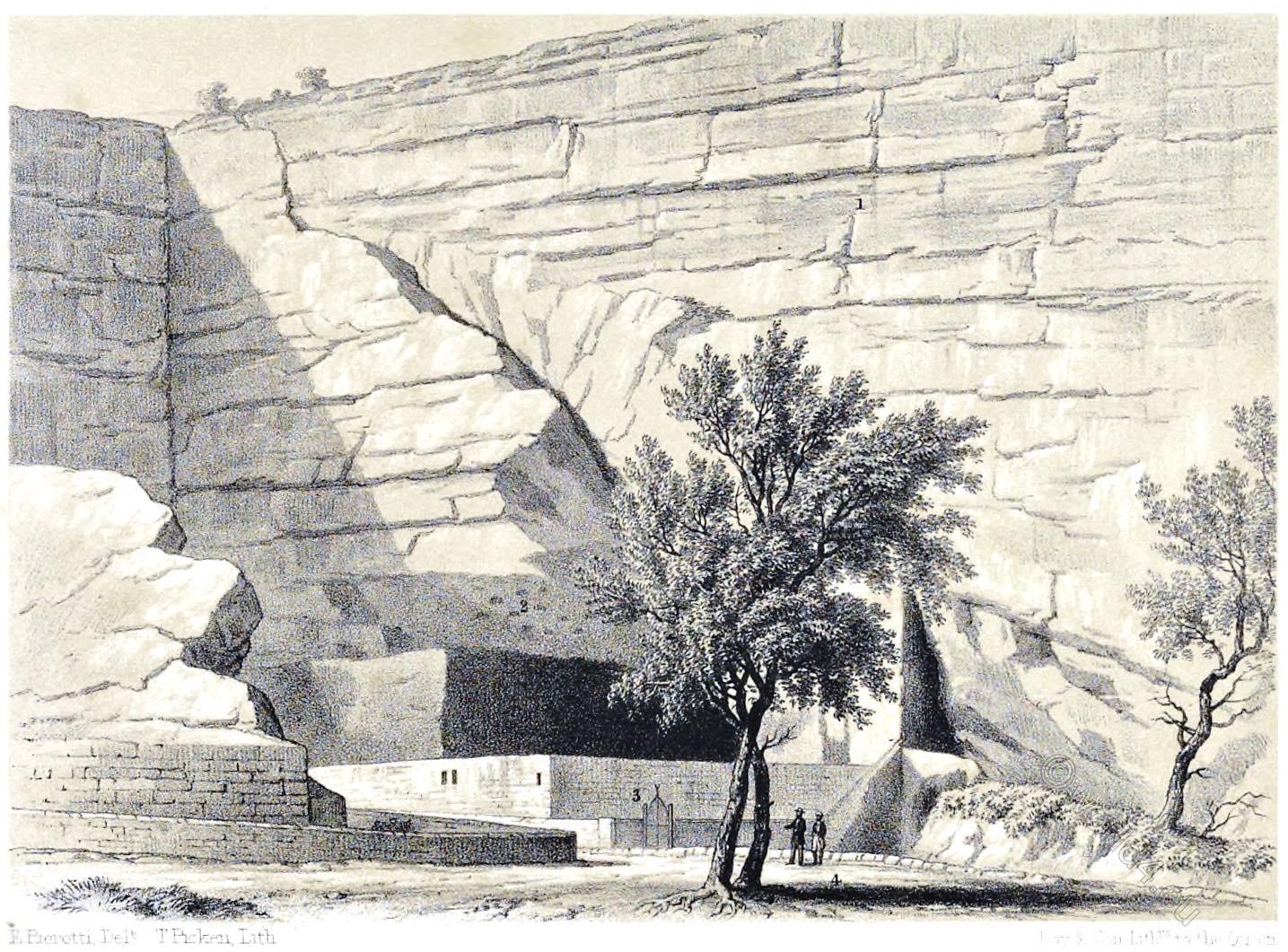Jerusalem, Grotto, Jeremiah, Architecture, Holy, Land, Ermete Pierotti,