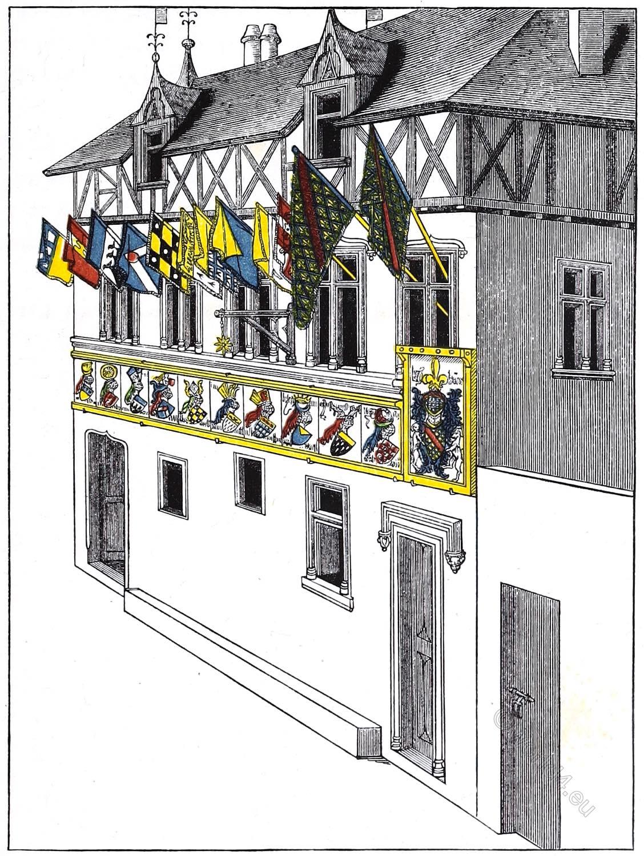 house, 15th, century, Traité, Tournois, King, Rene