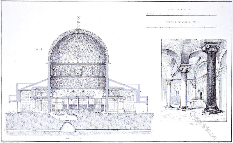Jerusalem, Kubbet es-Sakharah, Golden Gate, interior, Architecture, Holy, Land, Ermete Pierotti,