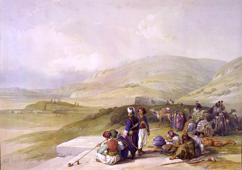 David Roberts, Jacob's, Well, Shechem, holy, land, Nablus, levante, palestine,