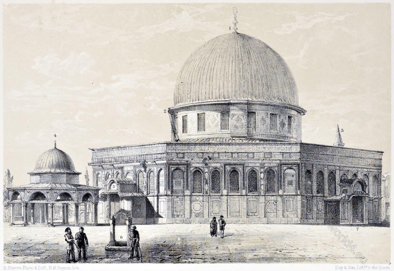 Jerusalem, Kubbet es-Silsileh, Kubbet es-Sakharah, Architecture, Holy, Land, Ermete Pierotti, Temple Mount,
